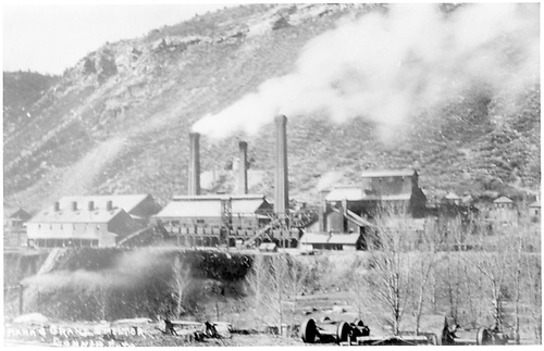 Omaha &amp; Grant Smelter as viewed from D&amp;RG yard.<br /> D&amp;RG  Durango, CO  Taken by Gonnen, Frank - ca. 1890