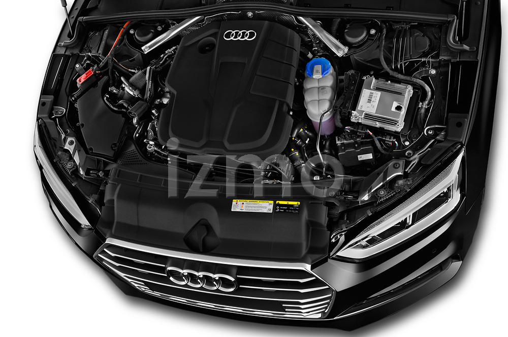 Car stock 2017 Audi S5 Sportback Base 5 Door Hatchback engine high angle detail view