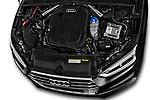 Car stock 2017 Audi S5 Sportback Base 5 Door Hatchback engine high angle detail view