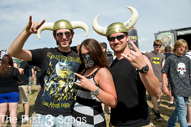 Fans attend the 2013 Mayhem Festival at Klipsch Music Center in Indianapolis, Indiana.