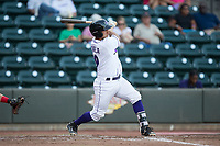 Seby Zavala (19) of the Winston-Salem Dash follows through on his swing against the Potomac Nationals at BB&T Ballpark on August 5, 2017 in Winston-Salem, North Carolina.  The Dash defeated the Nationals 6-0.  (Brian Westerholt/Four Seam Images)