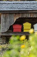 France, Haute-Savoie (74),Massif des Aravis, Manigod:  Rucher La Maison des Bois de Marc Veyrat au col de la Croix Fry  // France, Haute Savoie, Massif des Aravis, Manigod: Marc Veyrat, Restaurant: Apiary, La Maison des Bois, Col de la Croix Fry