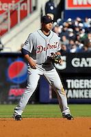 Apr 02, 2011; Bronx, NY, USA; Detroit Tigers infielder Jhonny Peralta (27) during game against the New York Yankees at Yankee Stadium. Yankees defeated the Tigers 10-6. Mandatory Credit: Tomasso De Rosa