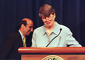 Washington, DC - June 7, 2000 -- Assistant Attorney General Joel Klein and Attorney General Janet Reno meet reporters at the Justice Department in Washington Wednesday, June 7, 2000, to discuss the Microsoft ruling.<br /> Credit: Ron Sachs / CNP