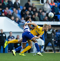 Reading's Liam Moore (left) battles with Preston North End's Jayden Stockley (right) <br /> <br /> Photographer David Horton/CameraSport<br /> <br /> The EFL Sky Bet Championship - Reading v Preston North End - Saturday 19th October 2019 - Madejski Stadium - Reading<br /> <br /> World Copyright © 2019 CameraSport. All rights reserved. 43 Linden Ave. Countesthorpe. Leicester. England. LE8 5PG - Tel: +44 (0) 116 277 4147 - admin@camerasport.com - www.camerasport.com