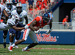 D.K. Metcalf carries the ball during the game against UT Martin Sat., Sept. 9, 2017. Ole Miss wins 45-23. Photo by Marlee Crawford/Ole Miss Communications