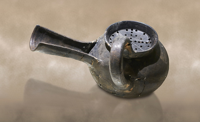 Phrygian grey ceramic vessel with a strainer and long spout from Gordion. Phrygian Collection, 8th-7th century BC - Museum of Anatolian Civilisations Ankara. Turkey. Against an art background