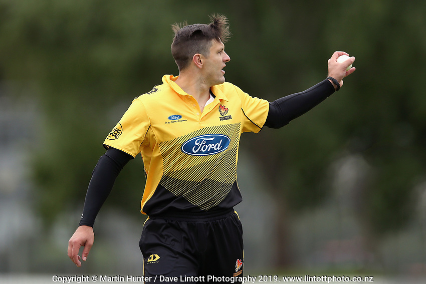 Wellington's Hamish Bennett bowls during the Ford Trophy One Day match (round five) between Wellington Firebirds and Otago Volts at Bert Sutcliffe Oval in Lincoln, New Zealand on Friday, 29 November 2019. Photo: Martin Hunter / lintottphoto.co.nz