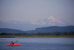 Pacific Northwest, Woman sea kayaker on Skagit Bay, the Skagit River estuary, Puget Sound, Washington State, USA, Sarah Shannon,.