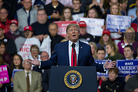 United States President Donald J. Trump speaks during a Make America Great Again campaign rally at Atlantic Aviation in Moon Township, Pennsylvania on March 10th, 2018. <br /> CAP/MPI/RS<br /> &copy;RS/MPI/Capital Pictures