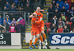 St Johnstone v Dundee Utd....21.04.12   SPL.Scott Robertson celebrates his goal with Willo Flood.Picture by Graeme Hart..Copyright Perthshire Picture Agency.Tel: 01738 623350  Mobile: 07990 594431