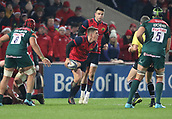 9th December 2017, Thomond Park, Limerick, Ireland; European Rugby Champions Cup, Munster versus Leicester Tigers; Ian Keatley, Munster, looks to get his back line moving