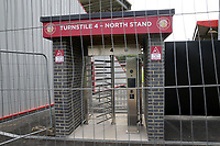 The new turnstiles at the North West corner of the ground still under construction before Stevenage vs Exeter City, Sky Bet EFL League 2 Football at the Lamex Stadium on 10th August 2019