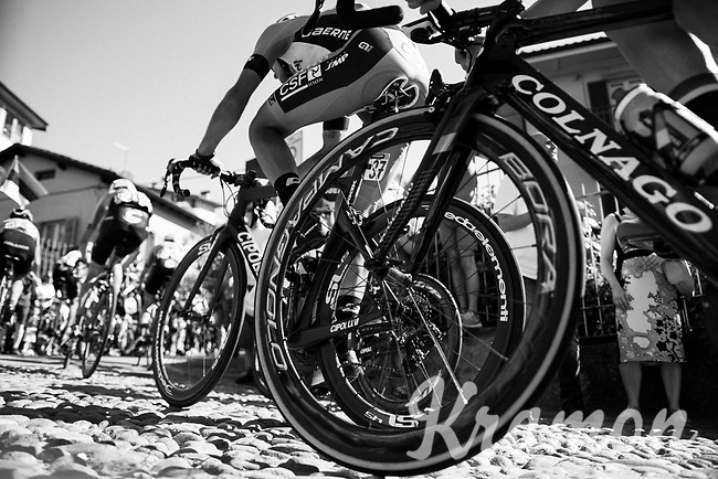 over the 'cobbles' up the final climb towards the Citt&agrave; Alta in Bergamo<br /> <br /> Stage 15: Valdengo &rsaquo; Bergamo (199km)<br /> 100th Giro d'Italia 2017
