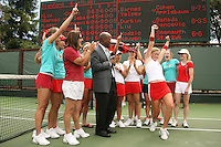 23 May 2006: Theresa Logar is interviewed by ESPN after Stanford's 4-1 win over the Miami Hurricanes in the 2006 NCAA Division 1 Women's Tennis Team Championships at the Taube Family Tennis Stadium in Stanford, CA.