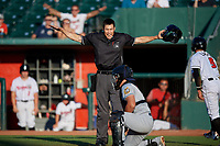 Home plate umpire Jae-Young Kim calls Lansing Lugnuts  Rafael Lantigua (9) safe at home after an attempted tag by catcher Keinner Pina during a Midwest League game against the Burlington Bees on July 18, 2019 at Cooley Law School Stadium in Lansing, Michigan.  Lansing defeated Burlington 5-4.  (Mike Janes/Four Seam Images)