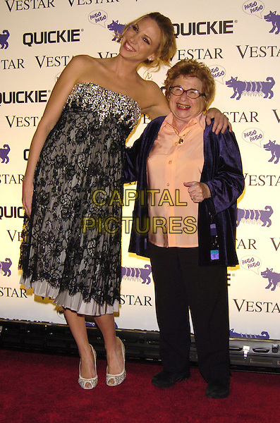 DEBORAH GIBSON & DR. RUTH WESTHEIMER.Rolling With Style Gala at Ciprini 42nd Street, New York, New York, USA..February 6th, 2007.full length lace leaning funny purple jacket peach shirt trousers strapless jewel encrusted.CAP/ADM/BL.©Bill Lyons/AdMedia/Capital Pictures *** Local Caption ***