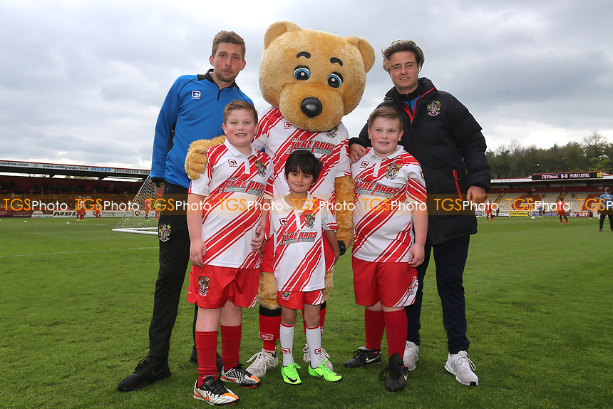 Stevenage mascots and Boro Bear during Stevenage vs Morecambe, Sky Bet EFL League 2 Football at the Lamex Stadium on 14th April 2017