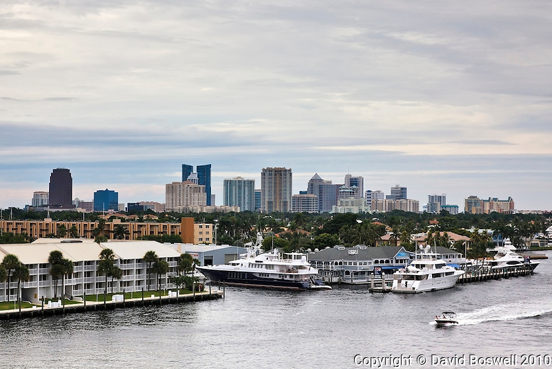 The Fort Lauderdale, Florida skyline near dusk, taken from the 17th Street Causeway.