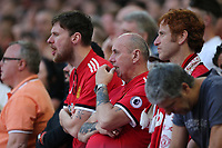 19th May 2018, Wembley Stadium, London, England; FA Cup Final football, Chelsea versus Manchester United; Manchester United fans watch on nervously as they fail to break through for an equaliser