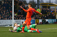 Aaron Ramsdale of AFC Wimbledon saves a shot from Jed Wallace of Millwall  during AFC Wimbledon vs Millwall, Emirates FA Cup Football at the Cherry Red Records Stadium on 16th February 2019