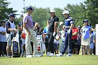 Matt Kucher (USA) Brooks Koepka (USA) Rory McIlroy (NIR) during the first round of  The Northern Trust, Liberty National Golf Club, Jersey City, New Jersey, USA. 08/08/2019.<br /> Picture Michael Cohen / Golffile.ie<br /> <br /> All photo usage must carry mandatory copyright credit (© Golffile | Michael Cohen)