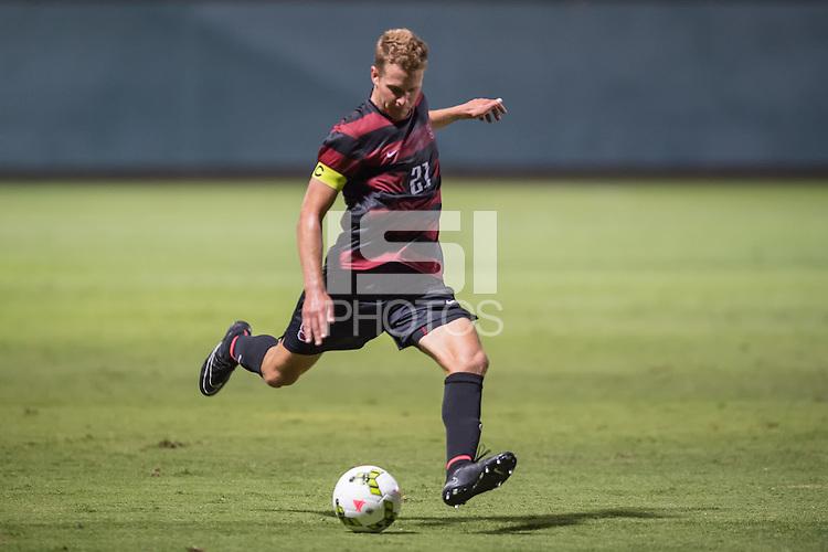 STANFORD, CA - August 19, 2014: Stanford vs CSU Bakersfield men's soccer match in Stanford, California. Final score, Stanford 1, CSU Bakersfield 0.