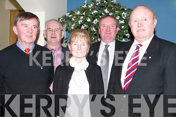 ATTENDED: Attending the Crotta/Kilflynn GAA Social at Ballyroe Heights Hotel, Tralee, on Saturday night were, l-r: Tommy Egan, Michael Parker (Snr), Marie Egan, James Sheehan and Laurence Twomey..