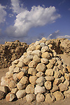 Israel, Sharon region, Ballista balls at the Crusader fortress Arsur in Apollonia National Park