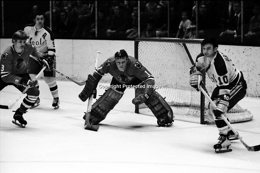Seals vs Chicago Black Hawks 1970.<br />Hawks Keith Magnuson, and goalie Gerry Desjardins,<br />Seals Ted Hampson and Bill Hickey. (photo/Ron Riesterer)