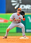 7 March 2012: St. Louis Cardinal infielder Tyler Greene works a double-play to end the 8th inning against the Washington Nationals at Space Coast Stadium in Viera, Florida. The teams battled to a 3-3 tie in Grapefruit League Spring Training action. Mandatory Credit: Ed Wolfstein Photo