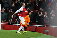 GOAL - Olivier Giroud of Arsenal celebrates after he scores his team's fifth goal of the game from the penalty spotduring the UEFA Europa League match between Arsenal and FC BATE Borisov  at the Emirates Stadium, London, England on 7 December 2017. Photo by David Horn.