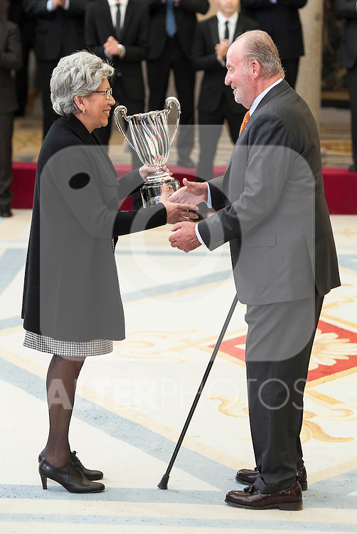 Garbage Muguruza's mother and King Juan Carlos attends to the National Sports Awards 2015 at El Pardo Palace in Madrid, Spain. January 23, 2017. (ALTERPHOTOS/BorjaB.Hojas)