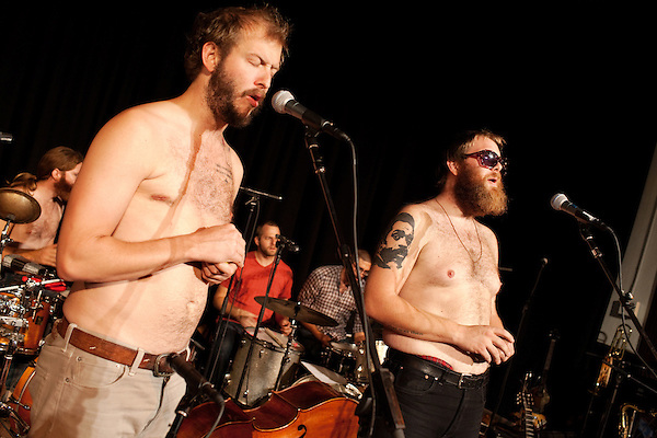 September 16, 2010.  Durham, North Carolina.. Justin Vernon and Brad Cook removed their shirts during rehearsal.. Day Three of Sounds of the South, a reinterpretation of Alan Lomax's field recordings, with music by Megafaun, Fight the Big Bull, Sharon Van Etten and Justin Vernon of Bon Iver..