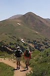 Hikers on Herman Gulch Trail in James Peak Wilderness Area, west of Georgetown, Colorado.