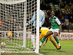 Iasiah Osbourne taps in from a Leigh Griifiths cross to open the scoring for Hibs