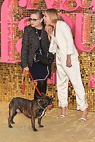 Carrie Fisher, dog Gary and daughter Billie Catherine Lourdes at 'Absolutely Fabulous: The Movie' world film premiere, Odeon cinema, Leicester Square, London, England June 19, 2016.<br /> CAP/PL<br /> &copy;Phil Loftus/Capital Pictures /MediaPunch ***NORTH AND SOUTH AMERICAS ONLY***