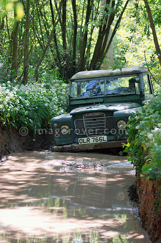 Series 3 Land Rover at the ALRC National 2008 RTV Trial driving through flooded forest road after torrential rain. The Association of Land Rover Clubs (ALRC) National Rallye is the biggest annual motor sport oriented Land Rover event and was hosted 2008 by the Midland Rover Owners Club at Eastnor Castle in Herefordshire, UK, 22 - 27 May 2008. --- No releases available. Automotive trademarks are the property of the trademark holder, authorization may be needed for some uses.