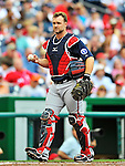 25 September 2011: Atlanta Braves catcher David Ross in action against the Washington Nationals at Nationals Park in Washington, DC. The Nationals shut out the Braves 3-0 to take the rubber match third game of their 3-game series - the Nationals' final home game for the 2011 season. Mandatory Credit: Ed Wolfstein Photo