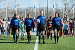 KANSAS CITY, MO - DECEMBER 02: Officials lead Carson-Newman University and the University of Missouri onto the field for the Division II Women's Soccer Championship held at the Swope Soccer Village on December 2, 2017 in Kansas City, Missouri. (Photo by Doug Stroud/NCAA Photos/NCAA Photos via Getty Images)