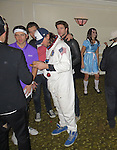 October 31st 2013   Exclusive <br /> <br /> Liam Hemsworth talking to a blonde girl at the Maroon 5 Halloween Party at the Sports mens lodge in Studio city California. <br /> <br /> <br /> AbilityFilms@yahoo.com<br /> 805 427 3519<br /> www.AbilityFilms.com