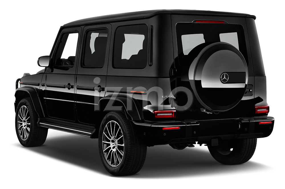 Car pictures of rear three quarter view of a 2019 Mercedes Benz G-Class G-550 5 Door SUV angular rear