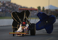 May 18, 2012; Topeka, KS, USA: NHRA top alcohol dragster driver Duane Shields during qualifying for the Summer Nationals at Heartland Park Topeka. Mandatory Credit: Mark J. Rebilas-