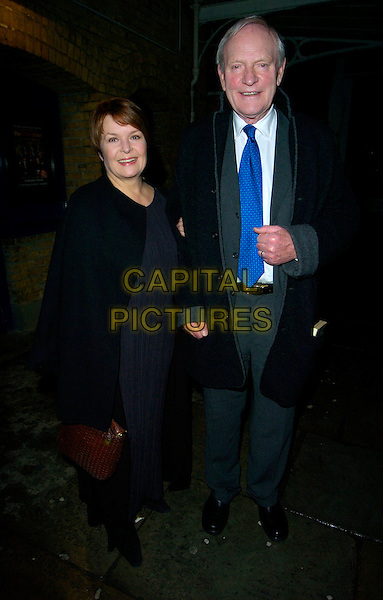 "ISLA BLAIR & JULIAN GLOVER.""The History Boys"" press night, Wyndham's Theatre, London, UK..January 3rd, 2007.full length black coat dress suit blue tie.CAP/CAN.©Can Nguyen/Capital Pictures"