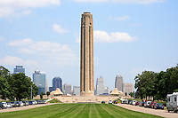 The Tower honoring WWI veterans towers above the Kansas City skyline at the National World War One Museum in Kansas City, Missouri on June 17, 2007.