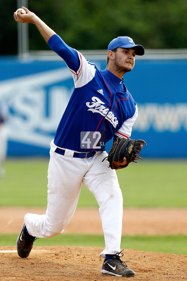 25 June 2011: Quentin Becquey of Team France pitches against Czech Republic during Czech Republic 11-1 win over France, at the 2011 Prague Baseball Week, in Prague, Czech Republic.