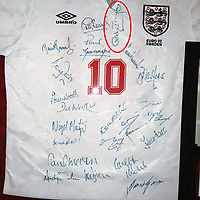 BNPS.co.uk (01202 558833)<br /> Pic: SchneiderIndustries/BNPS<br /> <br /> Pictured: The shirt is signed by members of the team including Gazza, Nigel Clough, Alan Shearer and even coach Graham Taylor<br /> <br /> The football shirt worn by Gary Lineker is his last ever game for England has emerged for sale.<br /> <br /> The 1992 match will always be remembered for the striker being inexplicably substituted when he was just one goal away from equalling England's goalscoring record.<br /> <br /> He was taken off on 62 minutes by the then manager Graham Taylor and replaced by Alan Smith.<br /> <br /> England went on to lose 2-1 against Sweden and be dumped out of the European Championships.