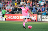 Becky Edwards kicks the ball. FC Gold Pride tied the Chicago Red Stars 0-0 in PUMA's Project Pink, Think Pink, Breast Cancer Awareness game at Pioneer Stadium in Hayward, California on August 7th, 2010.