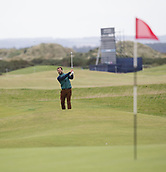 4th October 2017, The Old Course, St Andrews, Scotland; Alfred Dunhill Links Championship, practice round; Actor Jamie Dornan pitches to the 16th green on the Old Course, St Andrews during a practice round before the Alfred Dunhill Links Championship