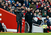 9th February 2019, Anfield, Liverpool, England; EPL Premier League football, Liverpool versus AFC Bournemouth; Liverpool manager Jurgen Klopp protests to fourth official Mike Dean after a decision goes against his team